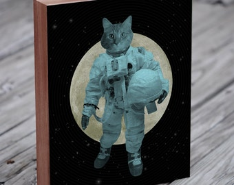 Astronaut  Cat - Space Cat - Astro Cat -  Wood Block Art Print