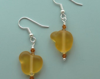 Citrine November Birthstone Golden Harvest Mellow Mustard Tumbled Glass Drop Earrings