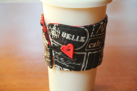 Reversible Coffee Cup Sleeve - French Damask - Ready to Ship