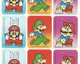 Vintage 80s Super Mario Brothers Sticker Sheet (Version 3)