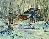 """Wintery scenery, The sugar cabin, home decor, gift, Original Canadian oil painting on canvas - Home decor 11"""" X 14"""""""