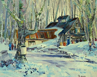 "Wintery scenery, The sugar cabin, home decor, gift, Original Canadian oil painting on canvas - Home decor 11"" X 14"""