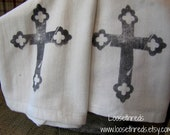 Vintage Inspired French Country Cross Hand Stamped Kitchen Towels - Set of 2