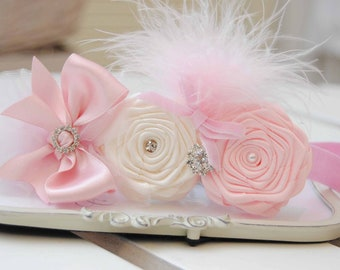 Pink Chic Headband with Pink and Ivory Roses Posh with Pearls  Rhinestones and Feather