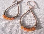 Minaret Earrings in Carnelian and French Cut Steel.  Hammered Copper Teardrop earrings.