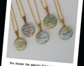 Custom Map Vintage Locket pendant with Gold 17 inch with Chain,  U Choose your Special Place