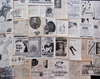 40 Black and white vintage illustrations scrapbooking collage paperpack