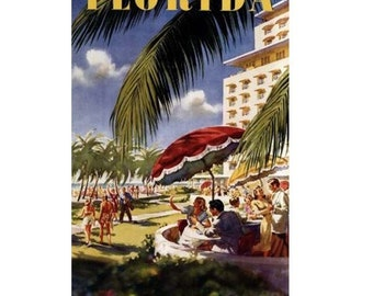 FLORIDA 3- Handmade Leather Postcard / Note Card / Fridge Magnet - Travel Art