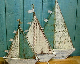 Sailboat Sign Wall Art Beach House Decor - Small Medium or Large by CastawaysHall