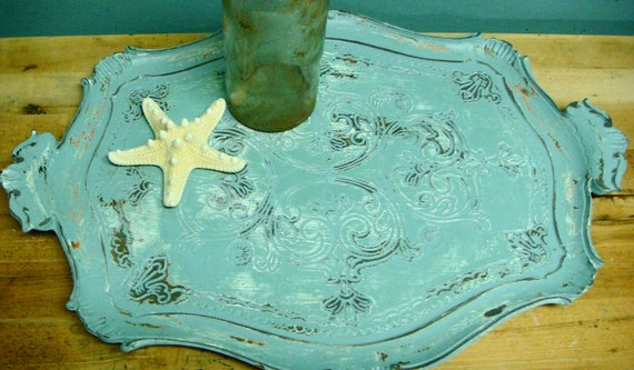White Turquoise Vintage Upcycled Serving Tray From Italy