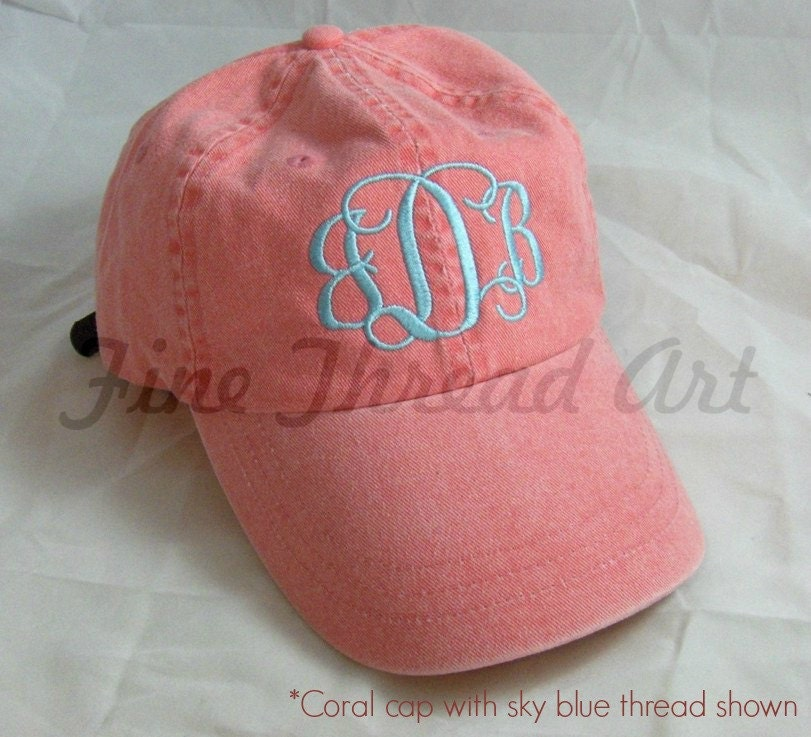 Ladies Monogram Baseball Cap Hat Leather Strap Mom Bridesmaid