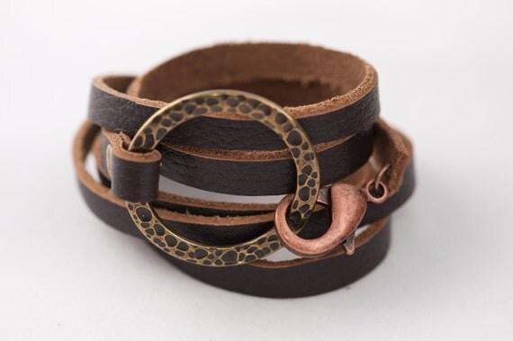 oxidized bronze leather wrap CUFF
