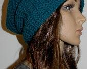 Slouchy Teal Crochet Beanie
