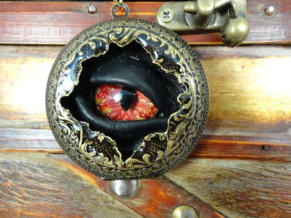 Steampunk Necklace Pocket Watch Case Sightmares Bio Mechanical Eye Master Blaster by Dr Brassy Steamington