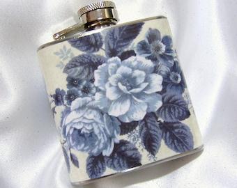 3 oz. Womens Hip Flask Porcelain Blue Roses