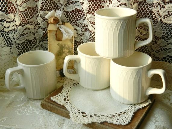 Vintage Homer Laughlin China Mugs, Gothic, Creamy White, Stackable, Set of 4