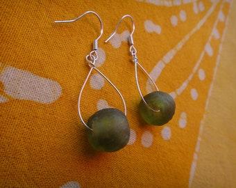 African Olive Green Glass Bead Teardrop Earrings