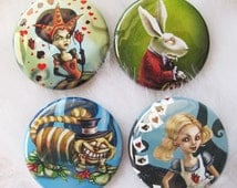 Alice in Wonderland Collectible Pin Set-Cheshire Cat, Alice in Wonderland, White Rabbit and Queen of Hearts
