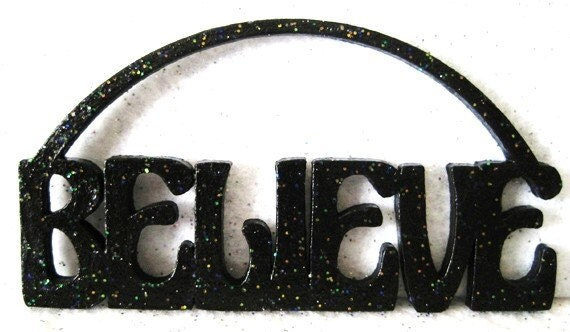 Believe Magic Fairy Garden Miniature Sign Gothic Black