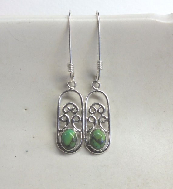 Green Turquoise and Sterling Silver Filigree Drop Earrings