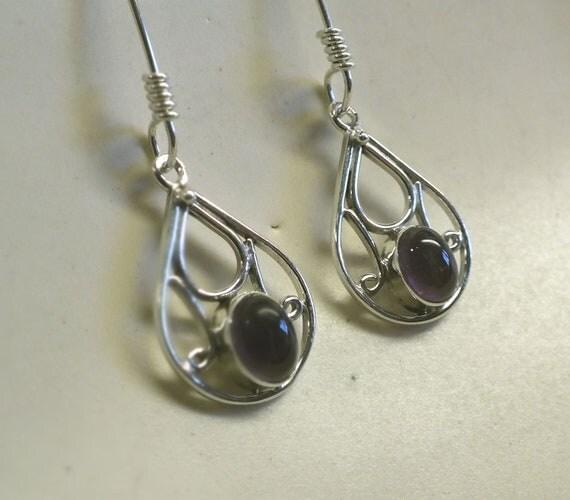 Teardrop Purple  Amethyst and Sterling Silver Drop Earrings