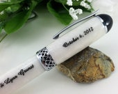 Infinity Love White Pearl Wedding Guest Book Pen - Free Engraving