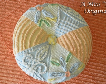 VINTAGE CHENILLE TUFFETT Shabby Chic Creamcicle Delight