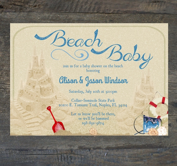 baby shower invitation beach baby gender by silhouettedesign