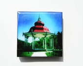 Hipstamagnets: Square Tile Resin Photographic Magnets (Towergrove Park Band Stand)