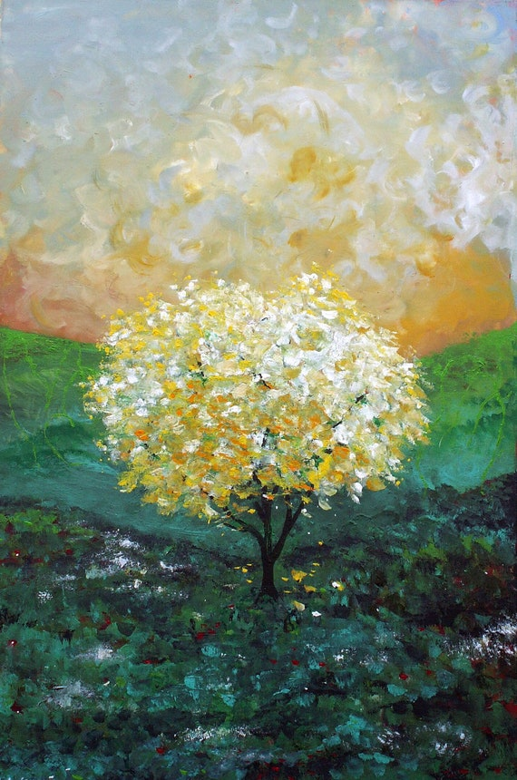 "Yellow Tree Print - Tree of Life - Nursery Art - Wall Decor - Art Print of Original Painting 8x10""  Where it Begins"