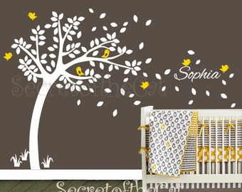 Nursery Wall Decal. Wall Decals Nursery.  Nursery Decal. Tree and Custom Name Wall Decal. Windy Tree Decal . Monogram . Nursery