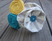 Grey & White Stripped, with Yellow and Teal Rosette Cluster