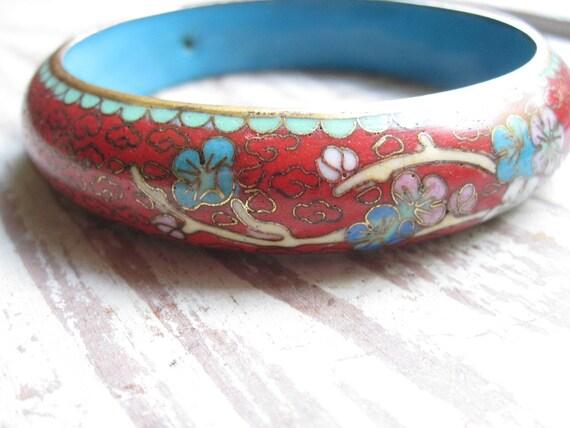 Vintage Red Cloisonne Bracelet
