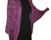 Hand Knit Cocoon, Shawl, Purple Silk, Magenta Rayon, Handmade Wrap, One Size FIts All, Exotic Jacket, Cocoon Style, Silky, Designer Original
