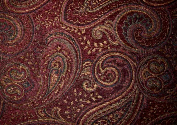 Rich Dark Red Gold Paisley Upholstery Fabric Woven Cloth Decor