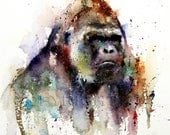 GORILLA Watercolor Print, Gorilla Art, Gorilla Painting,  by Dean Crouser