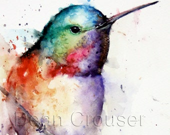 HUMMINGBIRD Watercolor Bird Print, Hummingbird Painting, Bird Art,  by Dean Crouser
