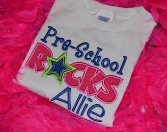 Pre-School Rocks Appliqued t-shirt