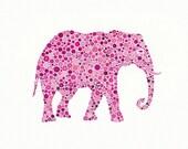 Dahlia Rose, 5 x 7 inch Print of  a Pink Elephant