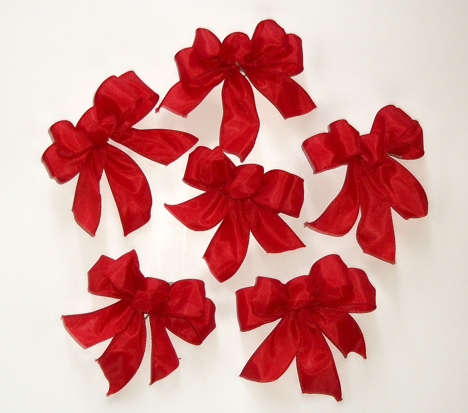 Christmas Tree Bows in Red Set of 6 Garland Bows Small