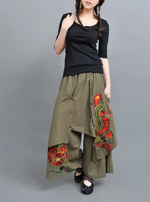 Linen Wide Skirt Pants Army Green R Women Dress Xs S
