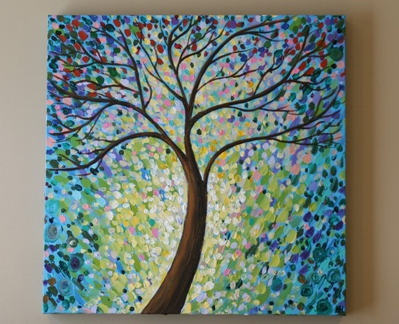 ORIGINAL painting Abstract tree painting acrylic Contemporary
