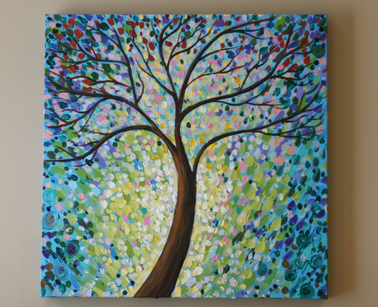 ORIGINAL Painting Abstract Tree Acrylic Contemporary