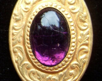 BWB Charming Edwardian Very Old paste Brooch Pin 1920's from DORAN, Providence (1) Amethyst on high polish frame