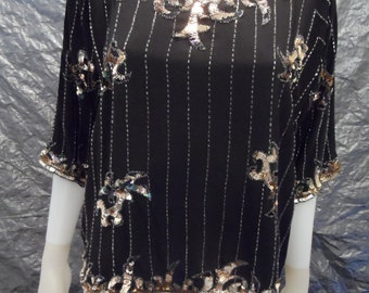 Vintage Beaded and Sequins Black Silk 1980's Glam Top  M