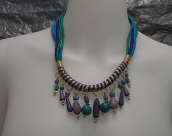 SALE Vintage Green & Blue Beaded 80's Casual Corner Gypsy Necklace