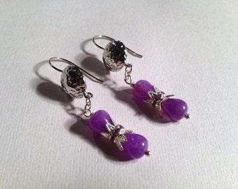 Purple Earrings - Silver Jewelry - Crystal Jewellery - Jade Gemstones - Dangle - Fashion - Everyday