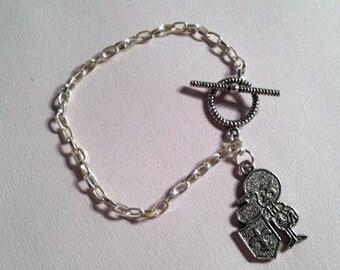 LSU Bracelet Football Jewelry - Fleur de Lys Jewellery - Chain - #1 - Player - College Football - Silver