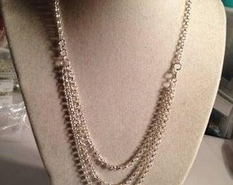Silver Necklace - Multi Strand Chain Jewellery - Triple Strand - Box Clasp