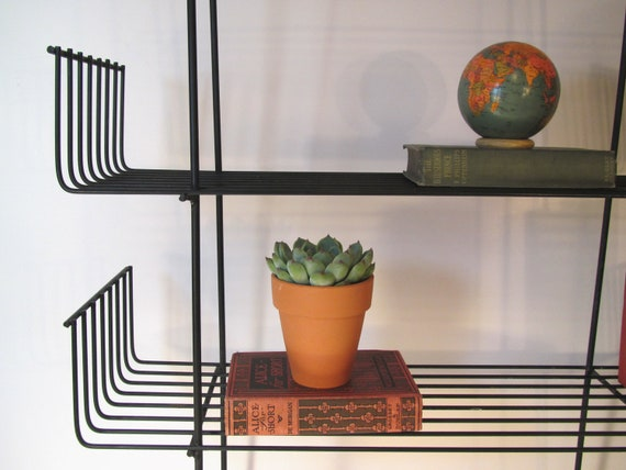 Vintage mid-century modern wire metal stand.......book case........sixties.......record stand